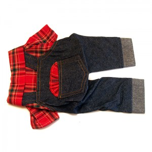 Dog Gardener Set Jeans and Shirt Red