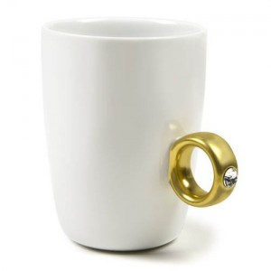 Coffee Mug with Ring and Diamonds