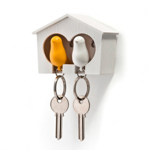 Duo Sparrow Keyring whistle with Birdhouse