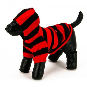 Striped Hoodie Red/Black Dog