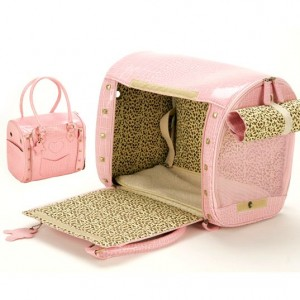 Pink Leather Bag Pet Carrier