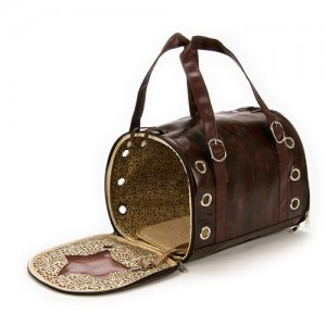 Brown Leather Bag Pet Carrier